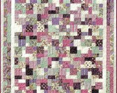 2 & 1/2 BY 5 Quilt E-Pattern - B J Q 113 --- Printable Download Pdf Diy Free Shipping Digital Pattern Pink Purple Green Square