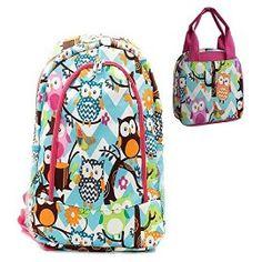 Owl Print Blue Chevron Pink Trim Backpack W Matching Lunch Bag