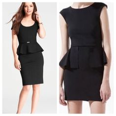"""Ann Taylor Black peplum 🎉HP🎉 Gorgeous black day to night peplum dress.  asymmetrical peplum ruffle🔹pleats at waist that come down & go up to bust making this the most forgivable dress. Armpit to armpit flat is 16.5"""" but has space due to the pleating & stretches, waist is 14.5"""".  Shoulder to hem 36"""",  top portion is lined.  my opinion runs bigger than a 2/ possibly fits size 4.  93% rayon/7% spandex.  2nd picture is exact dress but in black, I have teal also🔹reasonable offers ok Ann…"""