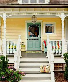 Front Door Paint Colors - Want a quick makeover? Paint your front door a different color. Here a pretty front door color ideas to improve your home's curb appeal and add more style! Yellow House Exterior, Exterior Paint Colors For House, Paint Colors For Home, Paint Colours, Outdoor House Colors, Cottage Exterior Colors, Room Colors, Victorian Porch, Victorian Homes
