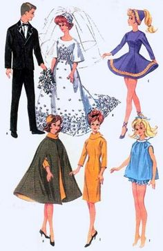McCall's 6520; This is one of the most popular vintage Barbie patterns and, without a doubt, the dress in the center of the bottom row is the most widely sewn fashion by doll designers. It's very easy for beginners.