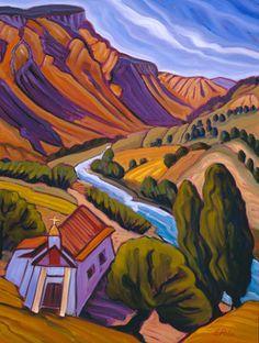 Porter, Elisabeth (Betsy) -Pilar Valley : fine art prints from artists of the southwest Painting Patterns, Painting Tutorials, Thomas Kinkade Art, Southwestern Art, Mexico Art, Mountain Art, Gourd Art, Mexican Folk Art, Landscape Paintings