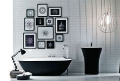 Black and white monochrome bathroom design with black free standing bath and black free standing wash basin by Falper Bathroom Inspiration, Interior Design Inspiration, Bathroom Ideas, Modern Bathroom Faucets, Monochrome Interior, White Table Lamp, Clawfoot Bathtub, Freestanding Bathtub, Beautiful Bathrooms