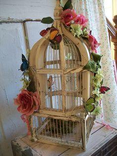 vintage floral birdcage