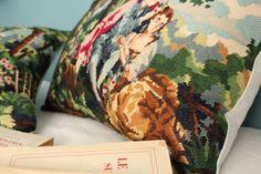 Coussins tapisserie vintage