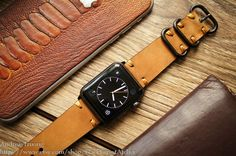 Change any watch strap you like to fit your new Apple Watch with our Full Set ( Custom Made Vintage Strap + Already Installed Adapter with Steel/Alu or Space Gray Color + Stainless Steel Brushed buckle + 5 Edges Screw Driver for Strap Change later ) What you have to do is: Remove the old strap, slide in the new vintage custom made strap from us – finish!  Please visit my shop for many strap designs.  If you do not notice the strap size, we will make a 125mm/75mm strap for you which will fit…