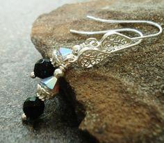 Handmade Earrings Faceted Black Onyx Sand Opal by JensFancy, $22.00