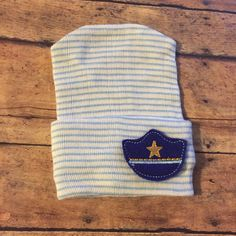Police officer hospital hat, baby boy hat, baby boy beanie, hospital hat…