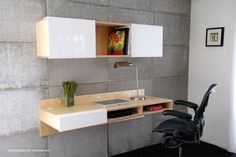 Perfect for small spaces, the LAX series Wall Mounted Desk attaches to the wall and makes legs seem like pointless obtrusions. Convenient cubbies underneath do away with drawers, allowing for quick st