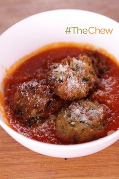 "Skip the meat for your next Italian meal and make it a bit healthier with Carla and Daphne's vegetarian ""Meatball."" Make Zucchini-Ricotta ""Meatballs"" for your family tonight."