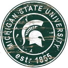 """Michigan State Spartans Wood Sign - 24"""" Round"""