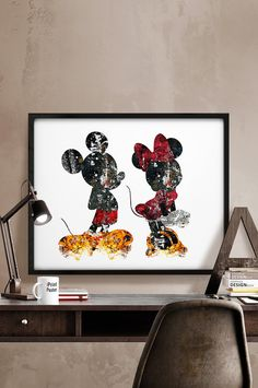 Mickey & Minnie Print, Abstract, Disney poster, Disney print, Mickey and Minnie Illustration, Wall art, Art poster, Home Decor, iPrintPoster