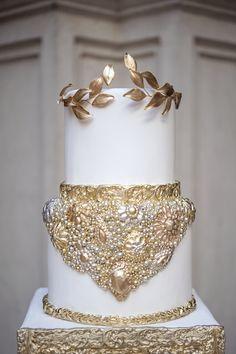 Greek Goddesses of Love   Gold & White Cake: Fine Cakes by Zehra