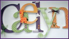 Nursery Wall Letters - Jungle Fun - Nursery Decor - Coord. with Kids Line Lollipop Jungle-avail in any size or font in this shop. $10.00, via Etsy.