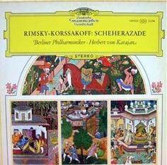 Herbert von Karajan conducts Scheherazade (1973) . Cover design of Persian miniatures by Werner Muyschel.