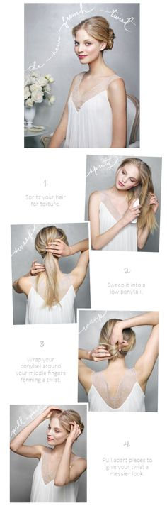 DIY wedding hairstyles for long hair. The new French twist for weddings. #diyweddinghairstylesforlonghair #diyweddinghairstyles