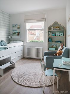 childrens interior design | scandinavian mint and blue girls room | florence | room to bloom