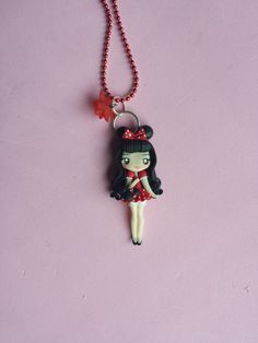 girl mickey polymer clay necklace fimo by Artmary2 on Etsy