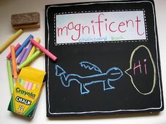 What a GREAT idea!  Chalkboard book--maybe use my chipboard books instead of an old oversize board book