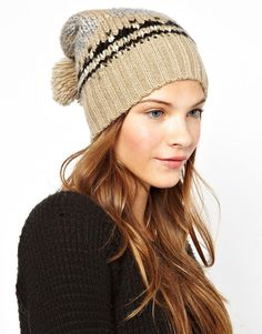 $29, Beige Print Beanie: Intarsia Beanie by B ab. Sold by Asos. Click for more info: http://lookastic.com/women/shop_items/94988/redirect
