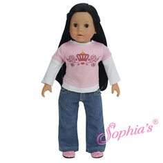 """18"""" Inch Doll Crown Logo Layered Tee & Studded Jeans                          Fits American girl dolls"""