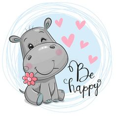 Cute Hippo, Baby Hippo, Cartoon Giraffe, Baby Cartoon, Cute Cartoon Pictures, Cartoon Pics, Baby Animal Drawings, Cute Drawings, Hippo Drawing