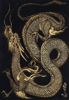 30 legendary Chinese dragons illustrations and paintings - Happy New Year . - 30 legendary Chinese dragons illustrations and paintings – Happy New Year 2012 by Born To Raise H - Orca Tattoo, Hamsa Tattoo, Tiger Tattoo, Tattoo Ink, Sleeve Tattoos, Japanese Dragon, Japanese Art, Fantasy Creatures, Mythical Creatures