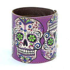 Leather cuff / wallet wristband - Sugar Skulls in Purple. $32.00, via Etsy.