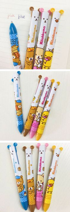 Omg <3 these adorable rilakkuma pens that write in pink and blue from the same pen! Found on Etsy... Rilakkuma Two Colour Ballpoint Pens - Sanrio - Cute School Supplies - Kawaii Stationery. These Rilakkuma pens are super cute! They feature two different ink colours (pink and blue) which you get to use by pushing down one of Rilakkuma's ears! Must-have for fans of kawaii Japanese stationery! #kawaii #stationery #rilakkuma #japanesestationery #cute #pens #ad