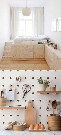 a cozy platform plywood bed, via studio oink; and some modern looking pegboard storage via kreis design / sfgirlbybay