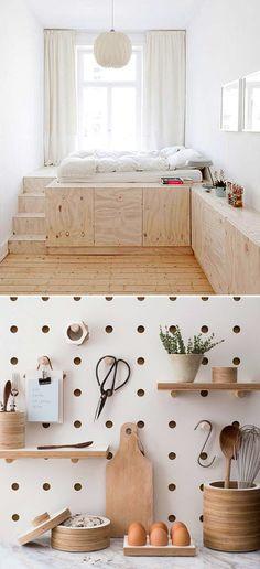a cozy platform plywood bed, via studio oink; and some modern looking pegboard storage via kreis design / sfgirlbybay