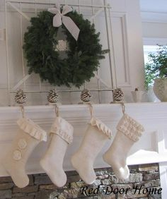 White burlap Christmas stockings.