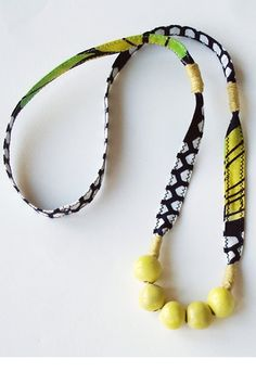 Fabric and beads necklace