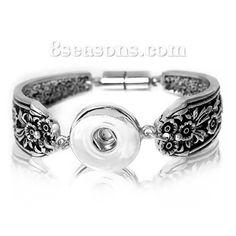 "Wholesale - Snap Button Jewelry Bracelets Antique Silver Flower Carved Fit 18mm/20mm Snap Buttons 21cm(8 2/8"") long, Hole Size: 6mm( 2/8"")( 2/8""), 1 Piece"