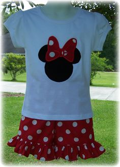 Custom Boutique Clothing Girls Disney Minnie Mouse Red and White Polka Dot Short Set, 6 mos to 6yr. $42.00, via Etsy.