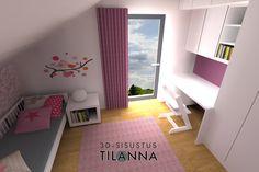 3D - sisustussuunnittelu / pinkki lastenhuone, seinillä tapetti, valkoinen ja pinkki maali, lattialla tammen värinen vinyylikorkki, makuuhuone, pink chidren's room, bedroom / 3D-sisustus Tilanna
