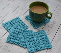 [Free Pattern] Learn A New Crochet Stitch And Make A Beautiful Square Coasters Set - Knit And Crochet Daily