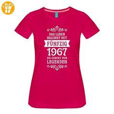 50. Geburtstag 1967 Leben Beginnt Mit Fünfzig Frauen Premium T-Shirt von Spreadshirt®, XL, dunkles Pink - Shirts zum 50 geburtstag (*Partner-Link)