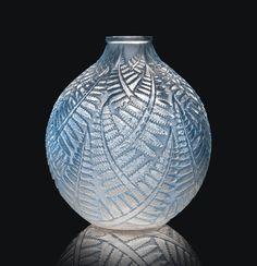 ESPALION VASE, NO. 996 designed 1927, clear, frosted and blue stained engraved R. Lalique France