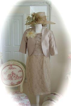 NWT Zeila Dress/Jacket, 12, Gold/Nude & Failsworth Hat, Weddings Races Formal