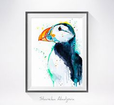 Hey, I found this really awesome Etsy listing at https://www.etsy.com/listing/245029521/puffin-watercolor-painting-print-puffin