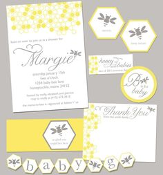 Bumble Bee Baby Shower Party Pack JPEG Bumblebee.  Etsy.