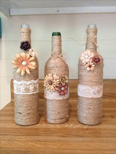 DIY twine wine bottles. Home decor on a budget