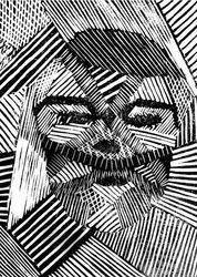 paint - art2day Caroline Achaintre mix Bridget Riley idea with your portraits?