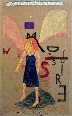 Jenny Watson - Wings of desire 2 Jenny Watson, Wings Of Desire, Naive, Figure Painting, Art Gallery, Fantasy, Illustration, Image, Painters