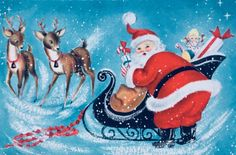 #retrochristmas, Vintage Christmas Card, Retro Christmas Card, #santa, #sleigh&reindeer, #classicturquoise, #midcenturymodern