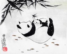 'Soft Flurries' gilclee print available for purchase by Tracie Griffith Tso ©Copyright 2014  Baby and mom giant pandas play beneath a canopy of Winter bamboo. Pandas embody balance and perfection as their black and white coats show both yin and yang energy. Bamboo is a longtime symbol of longevity, resilience and flexibility.