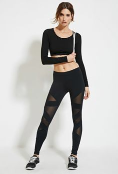 Mesh-Paneled Leggings - Activewear - 2000182725 - Forever 21 EU English