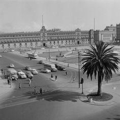 Decada de los 1950s. Plaza de la Constitucion.