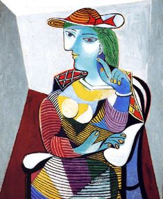 1937 'Portrait de Marie-Thérèse', Pablo Picasso (Spain 1881~1973 France)   Marie-Thérèse Walter (1909~1977) was the French mistress and model of Pablo Picasso from 1927 to about 1935, and the mother of his daughter, Maya Widmaier-Picasso. Their relationship began when she was 17 and he was 45, still living with his first wife, Olga Khokhlova.